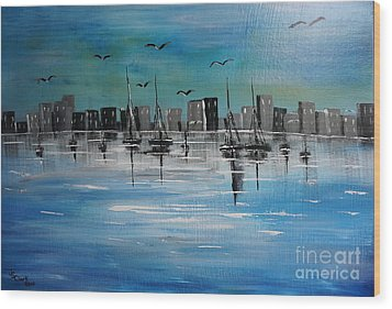 Sailboats And Cityscape Wood Print