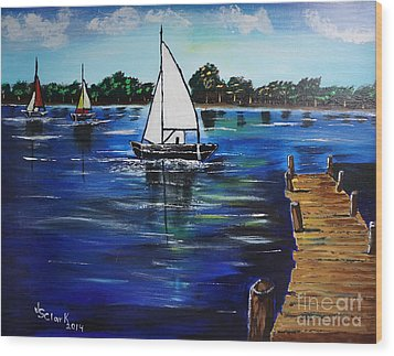 Sailboats And Pier Wood Print