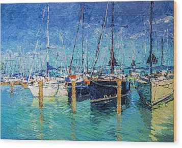 Sailboats At Balatonfured Wood Print