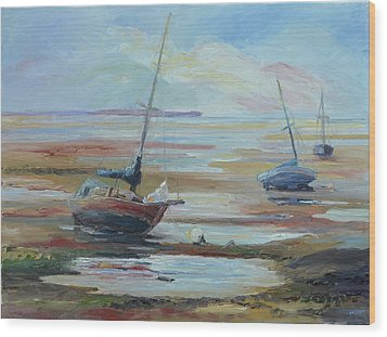 Sailboats At Low Tide Near Nelson, New Zealand Wood Print by Barbara Pommerenke