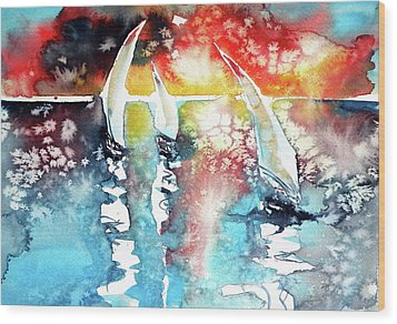 Sailboats At The Sunshine Wood Print by Kovacs Anna Brigitta