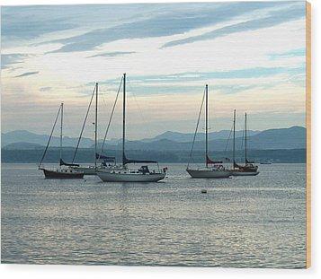Sailboats Docked Wood Print by Rita Tortorelli
