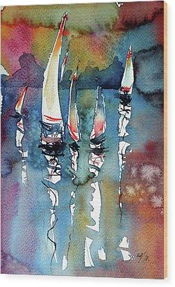 Wood Print featuring the painting Sailboats II by Kovacs Anna Brigitta