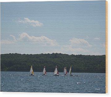 Sailboats In Eagle Harbor Wood Print