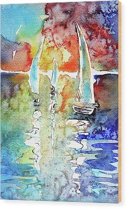 Sailboats In Light Wood Print by Kovacs Anna Brigitta
