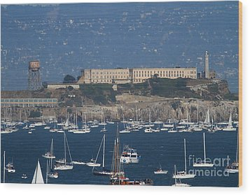 Sailboats In The San Francisco Bay Overlooking Alcatraz . 7d8080 Wood Print by Wingsdomain Art and Photography