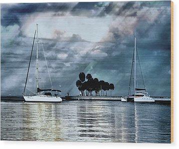 Sailboats Wood Print by Jim Hill