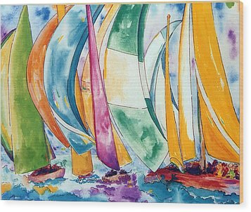 Sailboats Wood Print by Lisa Boyd