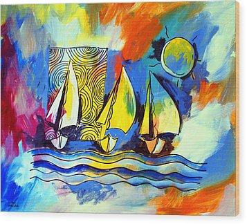 Sailboats Wood Print