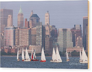 Sailboats On The Hudson II Wood Print by Clarence Holmes