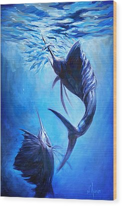 Sailfish And Ballyhoo Wood Print by Tom Dauria