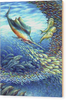 Sailfish Plunders Baitball II - Sharks And Dolphin Fish Wood Print by Nancy Tilles