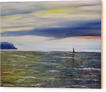 Sailing At Dusk Wood Print by Marilyn  McNish