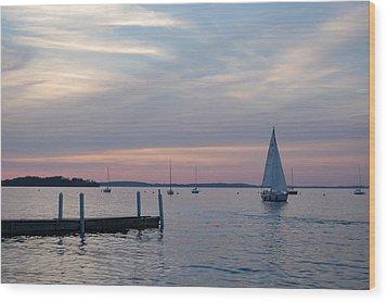 Sailing At The Uw - Madison Wood Print by Lisa Patti Konkol