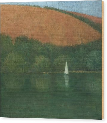 Sailing At Trelissick Wood Print by Steve Mitchell