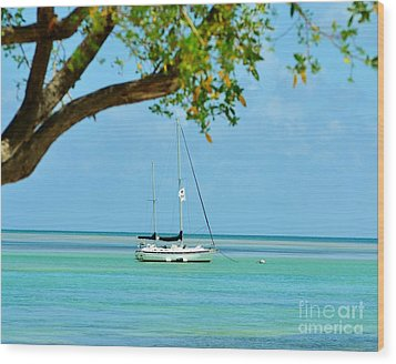 Sailing Away To Key Largo Wood Print