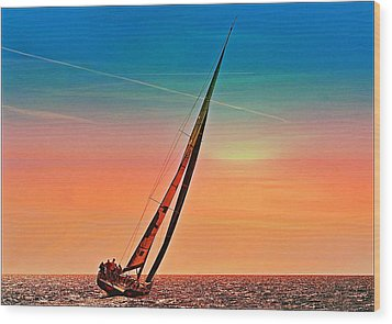 Sailing Boat Nautical 3 Wood Print