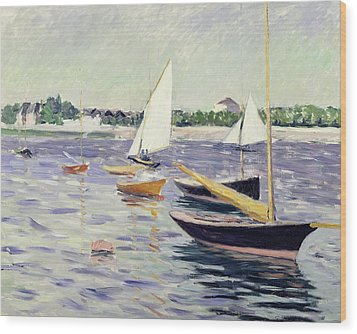 Sailing Boats At Argenteuil Wood Print by Gustave Caillebotte