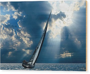Sailing Boats At Sea , Photography , Wood Print