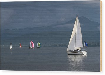 Sailing Boats By Stormy Weather, Geneva Lake, Switzerland Wood Print