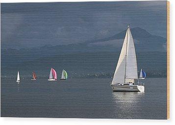 Sailing Boats By Stormy Weather, Geneva Lake, Switzerland Wood Print by Elenarts - Elena Duvernay photo