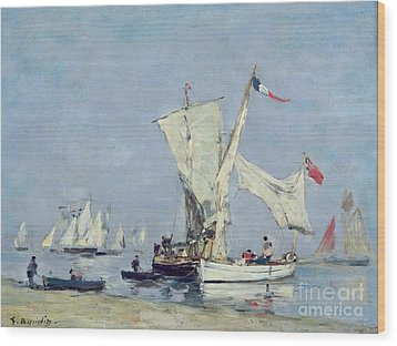 Sailing Boats Wood Print by Eugene Louis Boudin