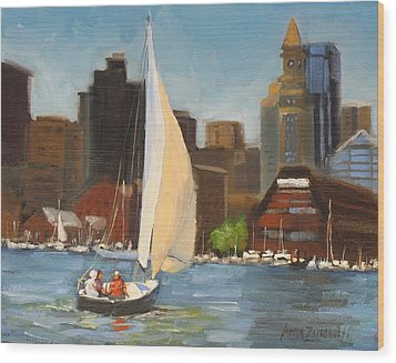 Sailing Boston Harbor Wood Print