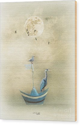Sailing By The Moon Wood Print