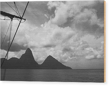 Sailing By The Pitons Wood Print by Terence Davis