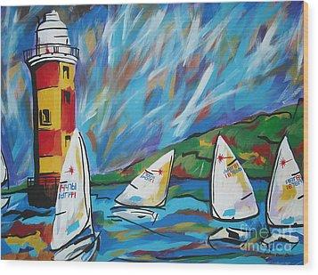 Sailing Wood Print by Caroline Davis