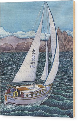 Sailing Wood Print by Catherine G McElroy
