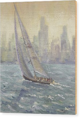 Sailing Chicago Wood Print