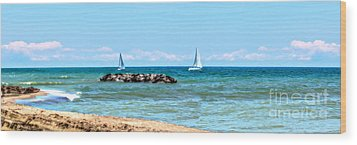 Sailing Days On Lake Erie Panorama Wood Print by Randy Steele