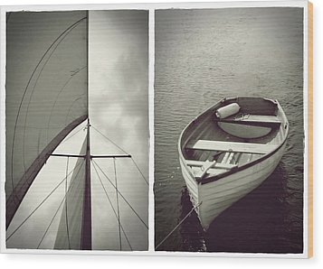 Sailing Diptych Wood Print by Patricia Strand