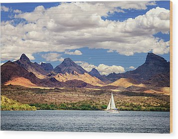 Sailing In Havasu Wood Print