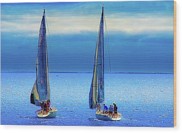 Sailing In The Blue Wood Print by Joseph Hollingsworth