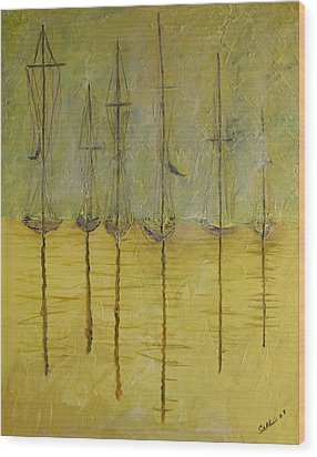 Sailing In The Calm Wood Print