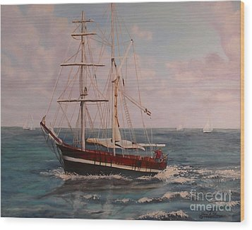 Wood Print featuring the painting Sailing In The Caribean by Terri Thompson