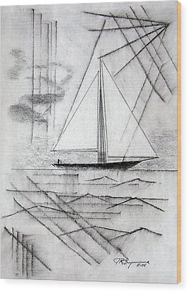 Sailing In The City Harbor Wood Print by J R Seymour