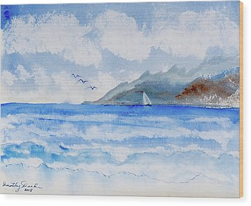 Sailing Into Moorea Wood Print