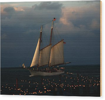 Sailing Into Sunset  Wood Print