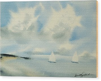 Sailing Into A Calm Anchorage Wood Print
