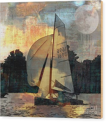 Wood Print featuring the photograph Sailing Into The Sunset by LemonArt Photography