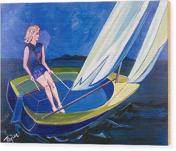 Sailing Off Nantucket Wood Print by Betty Pieper