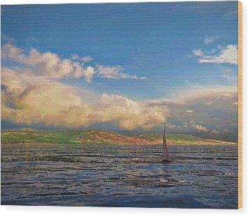 Sailing On Galilee Wood Print by Dave Luebbert