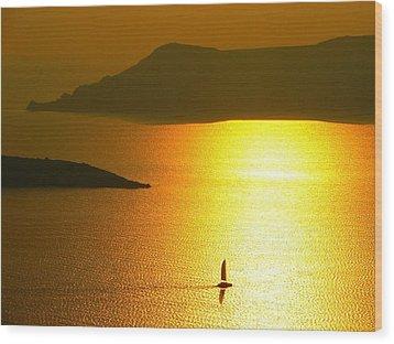 Sailing On Gold 1 Wood Print by Ana Maria Edulescu