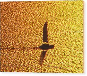 Sailing On Gold Wood Print by Ana Maria Edulescu
