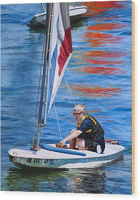 Sailing On Lake Thunderbird Wood Print