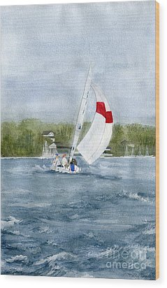 Wood Print featuring the painting Sailing On Niagara River by Melly Terpening