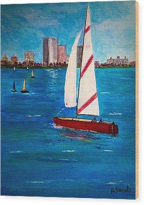 Sailing On The Charles Wood Print